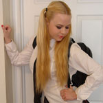 Pigtailed Blonde Teen Removes Her Schoolgirl Uniform In Her Bedroom - Picture 2