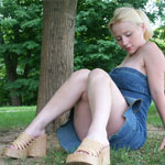 Busting Out Of Tight Jean Dress - Picture 16